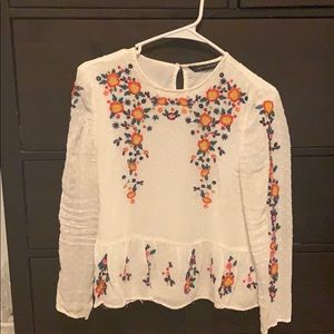 Zara embroidered floral blouse size small